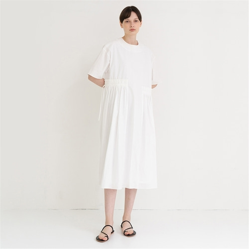 [노타] side unbalance string long dress_white