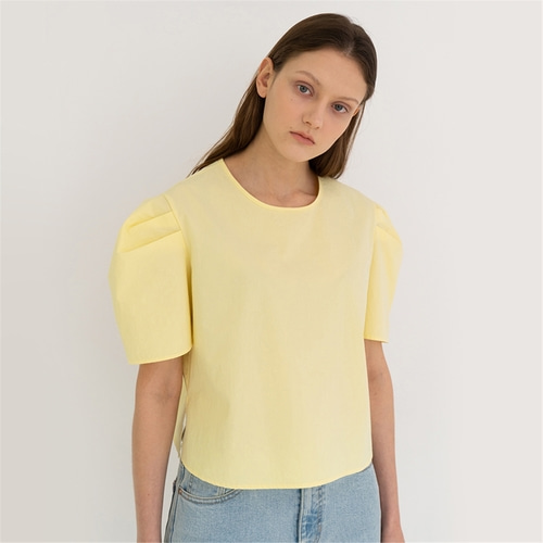 [노타] plain puff semi crop top_yellow