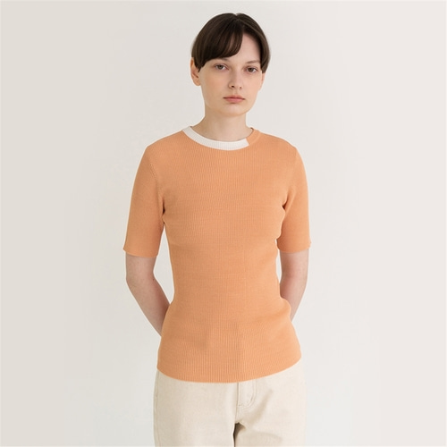 [노타] curve golgi summer knit top_pale coral
