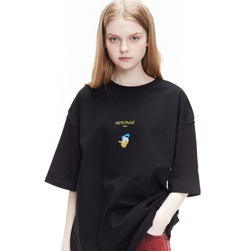 [디즈니X오디너리피플] HERITAGE DONALD DUCK BLACK T SHIRTS_WOMAN