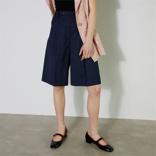 [비먼] summer wool double button bermuda shorts_navy