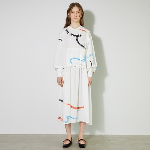 [비먼] dove print hooded maxi dress_white