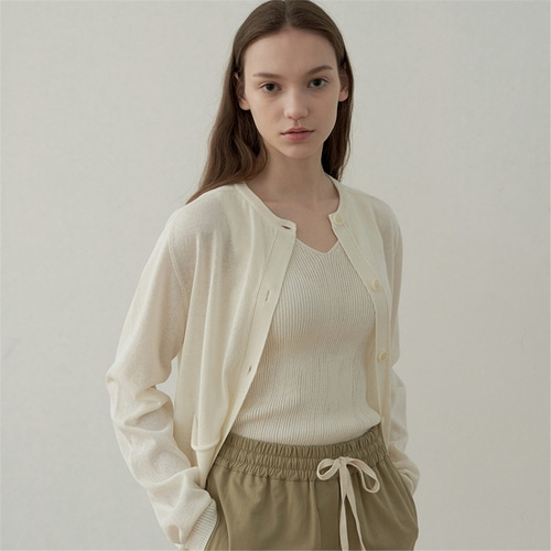 [블랭크03] linen pocket cardigan_ivory