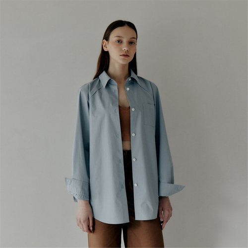 [파르아비옹] Oversized Pleat Detail Shirt_BLUE_JUSB305_50