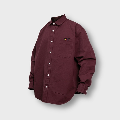[앵글런] Oxford Wide Over Shirt - Burgundy