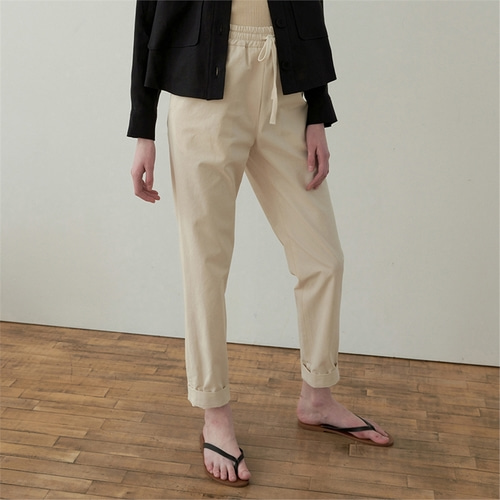 [블랭크03] drawstring cotton pants_cream beige