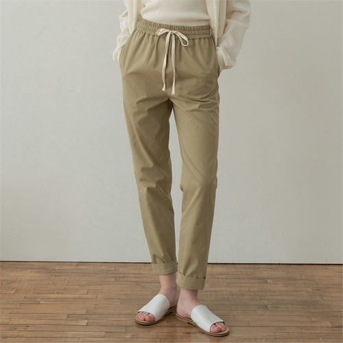[블랭크03] drawstring cotton pants_khaki