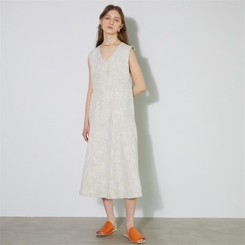 [비먼] summer tweed panelled flared dress_pale orange