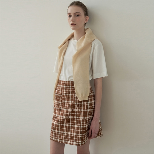 [블랭크03] tweed mini skirt_brown