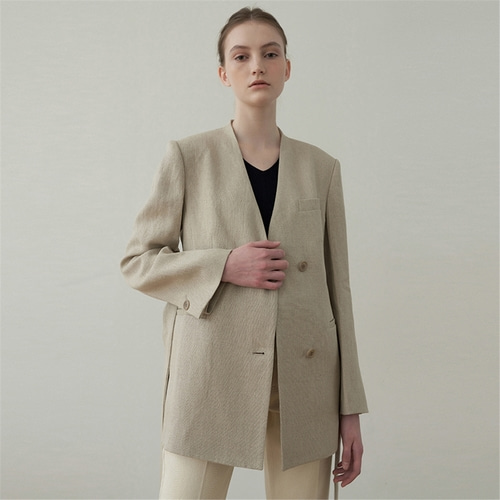 [블랭크03] linen no collar jacket_beige