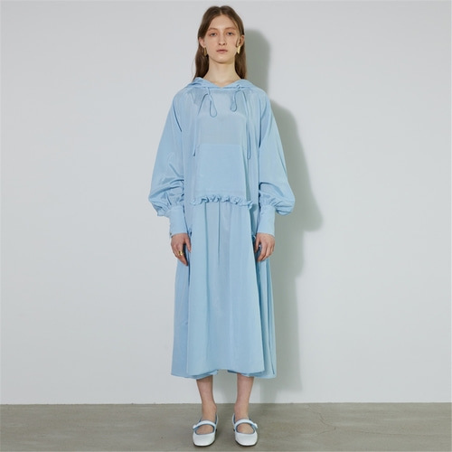 [비먼] hooded maxi dress_sky