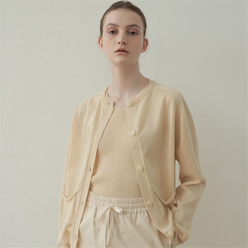 [블랭크03] linen pocket cardigan_light beige