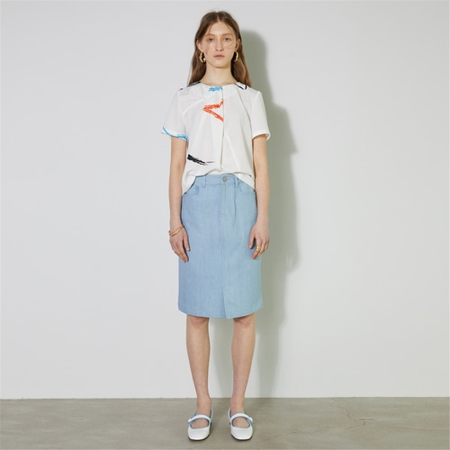 [비먼] slit front denim skirt with buckle_light blue