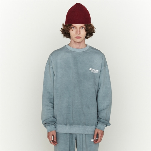 [오디너리피플] GARMENT DYING BLUEGREY LOGO SWEATSHIRTS_MAN