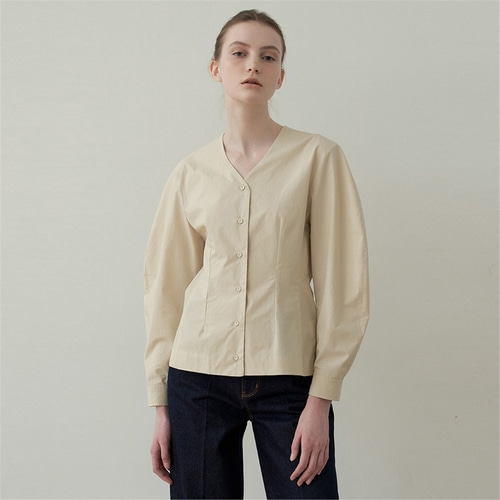 [블랭크03] cotton silhouette blouse_light beige