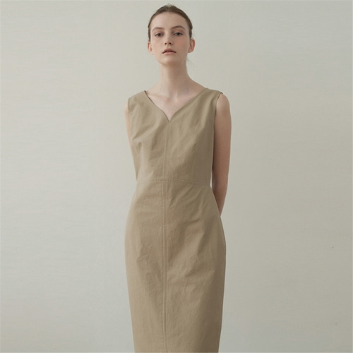 [블랭크03] cotton silhouette dress_beige