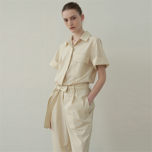 [블랭크03] belted cotton jumpsuit_light beige