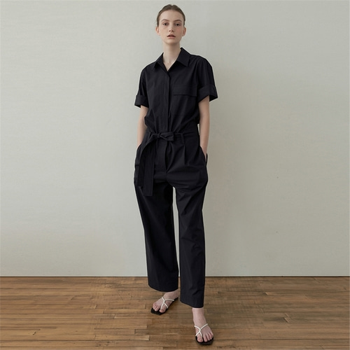 [블랭크03] belted cotton jumpsuit_dark navy