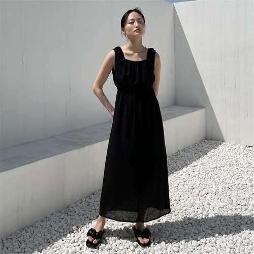 [노타] FLOR TEX BANDING SLEEVELESS DRESS BLACK