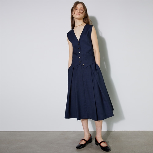 [비먼] summer wool double button flared skirt_navy