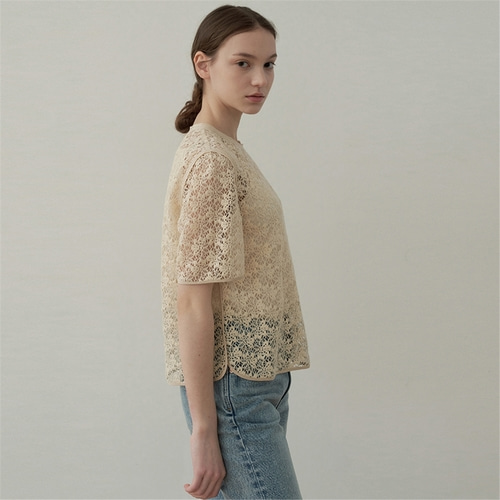 [블랭크03] half sleeve lace blouse_cream beige