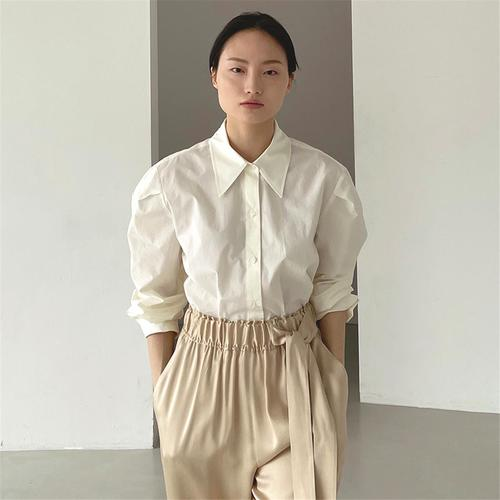 [노타] ROUND SHOULDER COTTON SHIRT IVORY