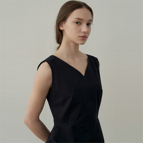 [블랭크03] cotton silhouette dress_dark navy