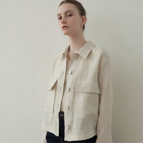 [블랭크03] linen cropped shirt jacket_ss_light beige