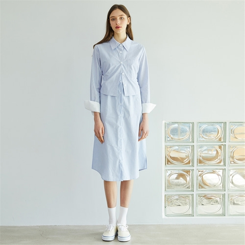 [에프코코로미즈] st layered shirt dress SK