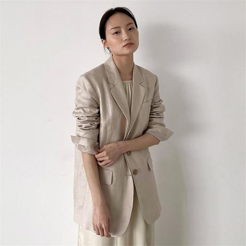 [노타] SOFT LINEN HERRINGBONE JACKET BEIGE