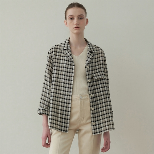 [블랭크03] linen boxy shirt jacket_check